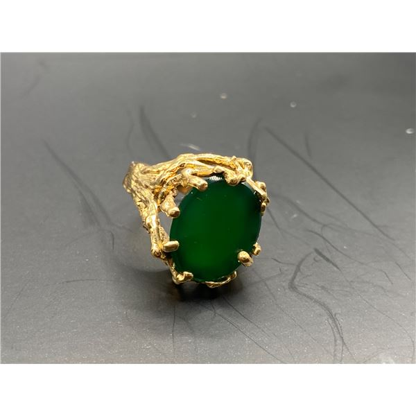 14K RING WITH GREEN STONE