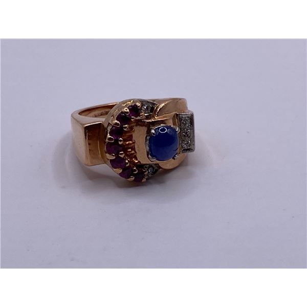 14K RING WITH SAPPHIRE, RUBIES AND DIAMONDS