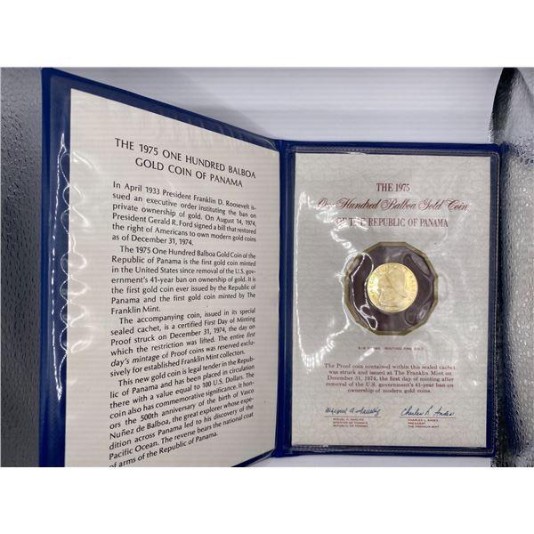 1975 PANAMA 100 BALBOAS GOLD COIN APPROXIMATELY 1/4 OUNCE