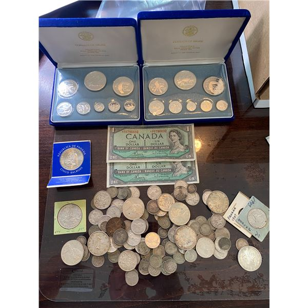 ASSORTED SILVER COINS, 2-1954 CANADA $1 BILLS, 2- 1974 BELIZE SILVER COIN SETS, ASSORTED WORLD COINS