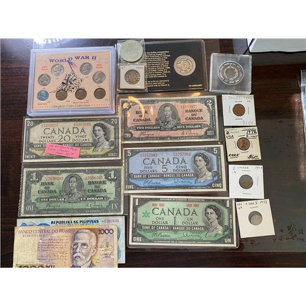 VINTAGE CANADA BANK NOTES, RARE PENNY/NICKEL, DIME, COMMEMORATIVE COIN AND WORLD BANK NOTES