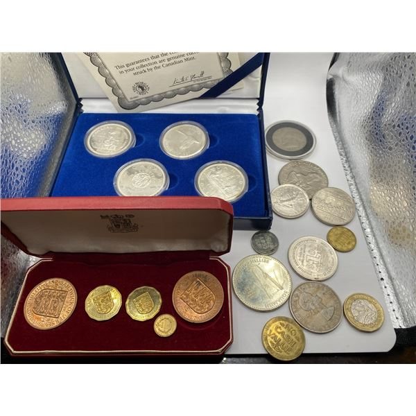 ASSORTED SILVER CANADIAN COINS AND WORLD COINS
