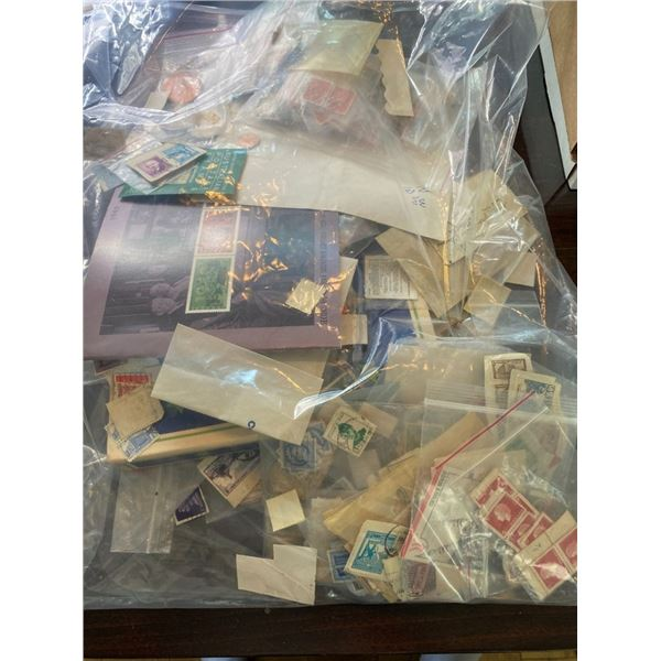 LARGE BAG OF VARIOUS STAMPS AND MISC. COINS