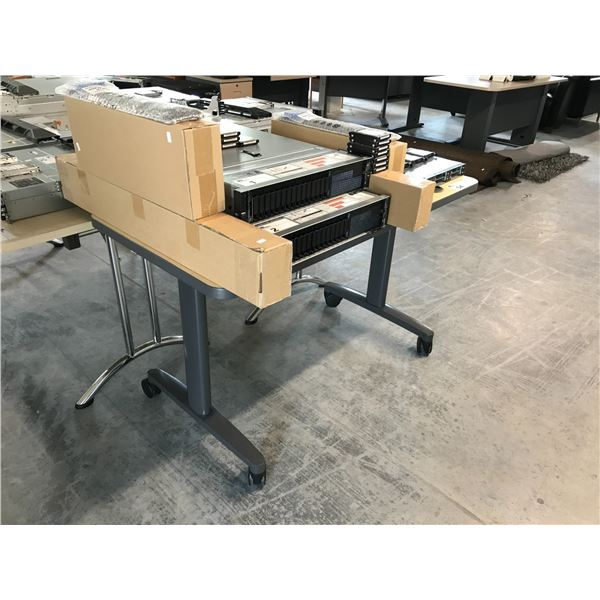 LIGHT MAPLE/GREY 4' MOBILE COMPUTER TABLE
