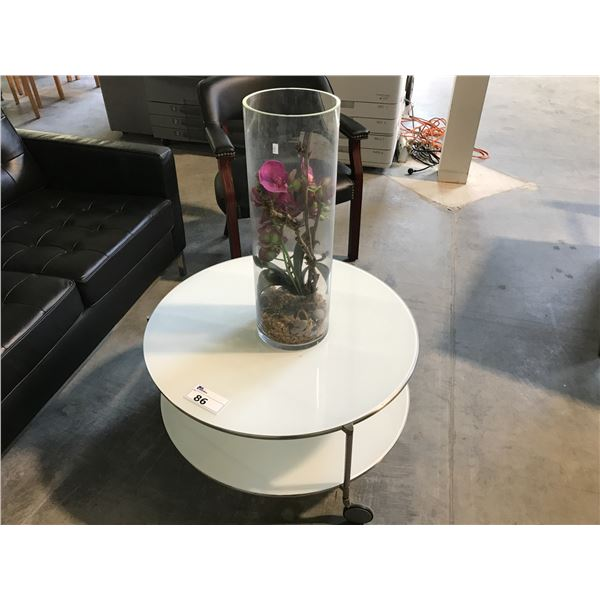 """WHITE 24"""" ROUND RECEPTION TABLE COMES WITH ORCHID FLOWER CENTERPIECE"""