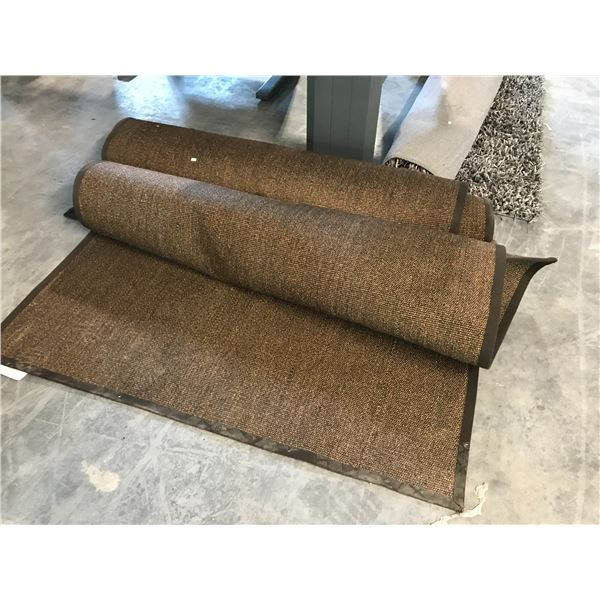 2 BROWN 6'X4' AREA RUGS AND A GREY  6'X4' AREA SHAG RUG