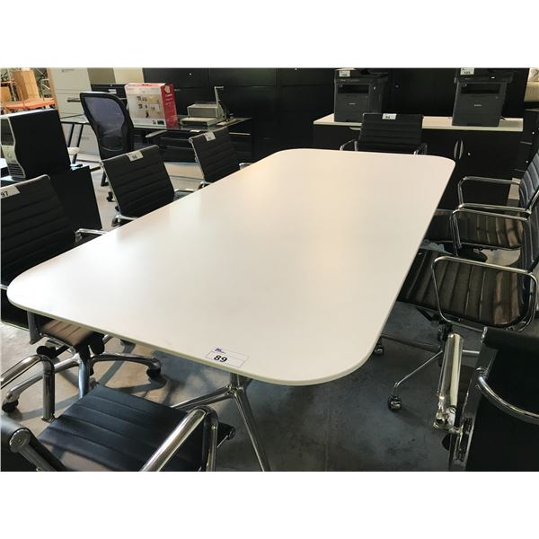 WHITE AND CHROME 8'X4' BOARDROOM TABLE
