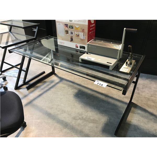 BLACK GLASS TOP 5' COMPUTER TABLE