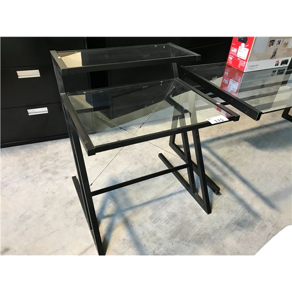 """BLACK GLASS TOP 2 TIER 30"""" COMPUTER TABLE"""