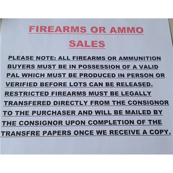 FIREARMS OR AMMO SALES. POSSESSION AND AQUISITION LICENSE
