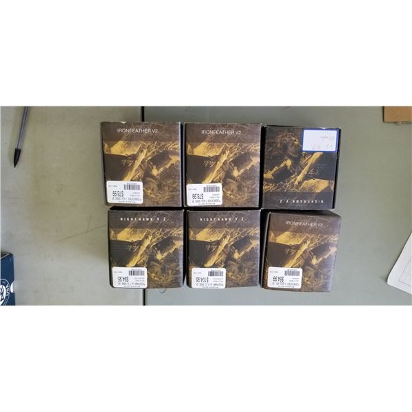 6 ASSORTED IRON FEATHER AND NIGHTHAWK SPOOLS RETAIL VALUE $500.00