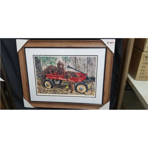 """LIMITED EDITION FRAMED PUPPIES AND WAGON PRINT 36""""W X 29""""H BY JERRY GADAMMUS 713/850"""