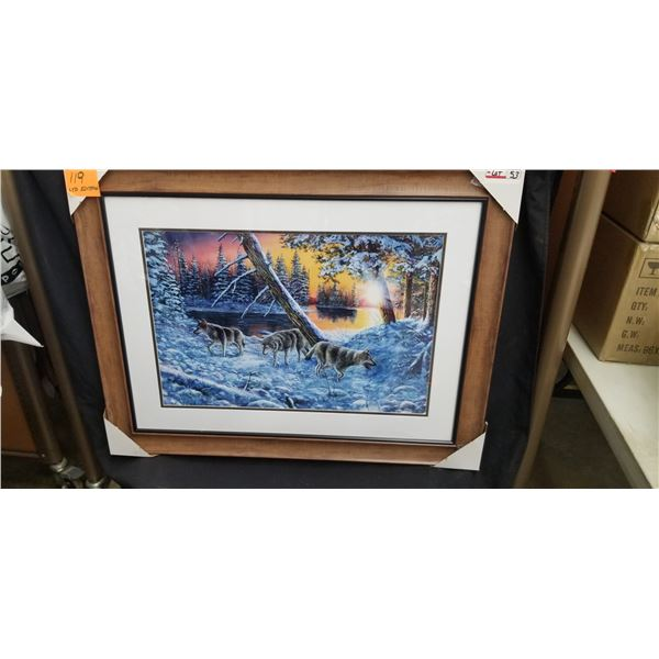 """FRAMED LIMITED EDITION WOLF PACK AT SUNSET 39""""W X 30""""H BY JIM HANSEL"""