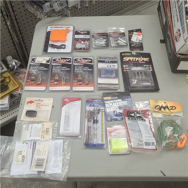 ASSORTMENT OF CROSSBOW REPLACEMENT BLADES, NICKS AND INSERTS RETAILL VALUE OF $270