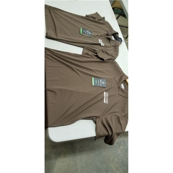 TWO MEDIUM WHOLESALE SPORTS SHIRTS - BROWN- ONE MENS AND ONE WOMENS $40