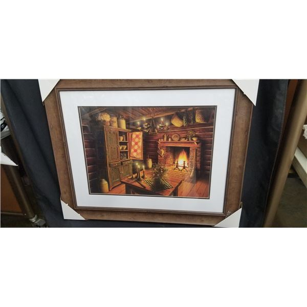 """FRAMED CABIN WITH FIREPLACE PRINT 36""""W X 29"""
