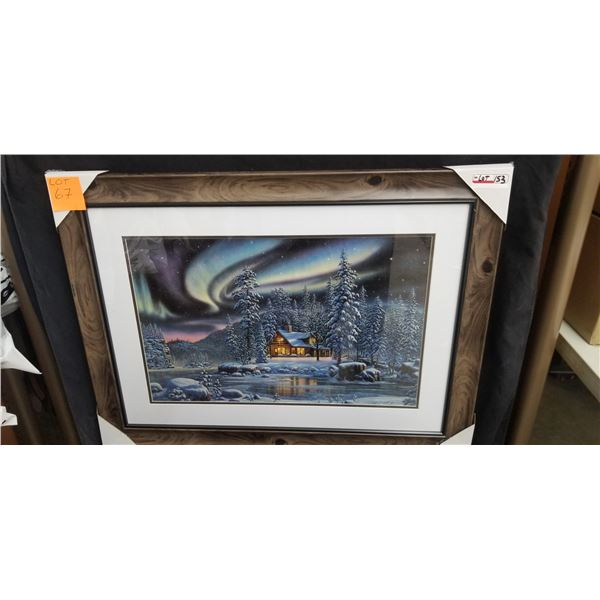 """FRAMED BORIALIS WITH CABIN ART PRINT 40""""W X 30""""H BY KIM NORLAW"""