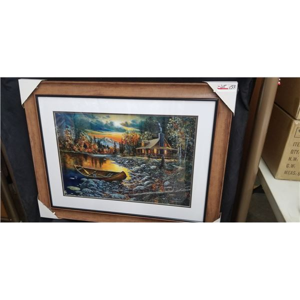 """FRAMED LIMITED EDITION CANOE AND CABIN PRINT 39""""W X 30""""H BY JIM HANSEL 162/2450"""