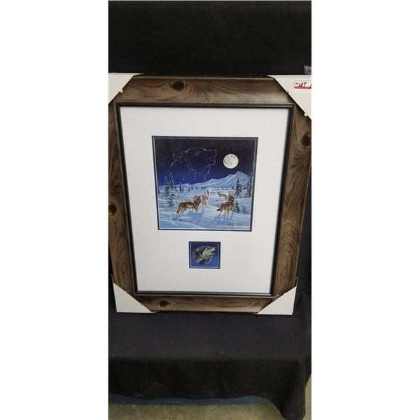 """FRAMED LIMITED EDITION WOLF PACK 23""""W X 30""""H BY CYNTHIE FISHER 983/5000"""