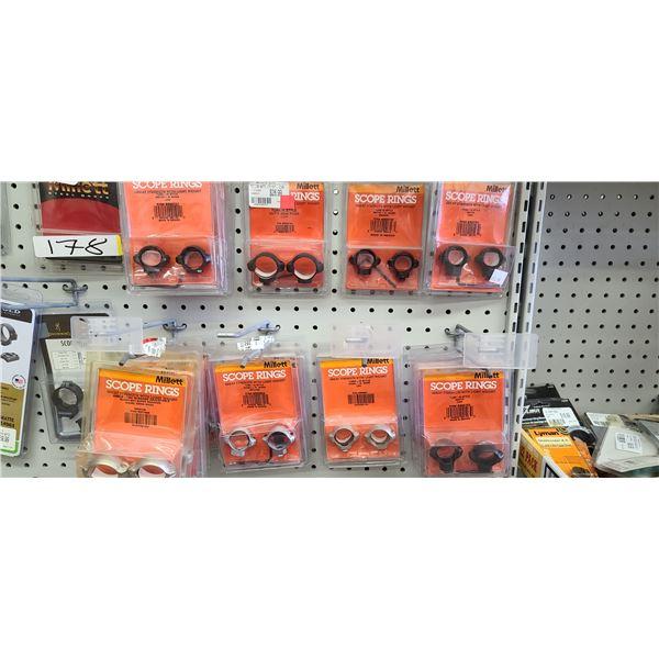MILLET SCOPE RINGS: SR00701 QTY 1, SR00702 QTY 1, SR00703 QTY 4, SR00704 QTY 1, SR00901 QTY 4, SR009