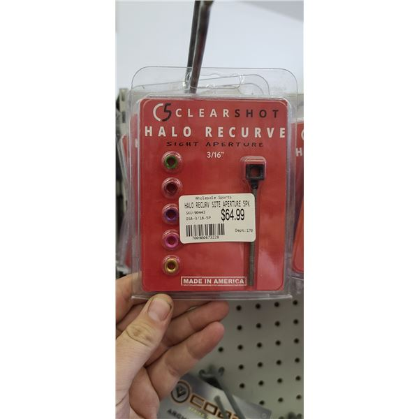 C5 CLEARSHOT HALO RECURVE SIGHT APERTURES 5 PACK QTY X 16. RETAIL VALUE $1,040