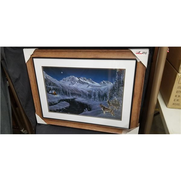 """FRAMED WOLF PACK PRINT 40""""W X 32""""H BY R. KISS"""