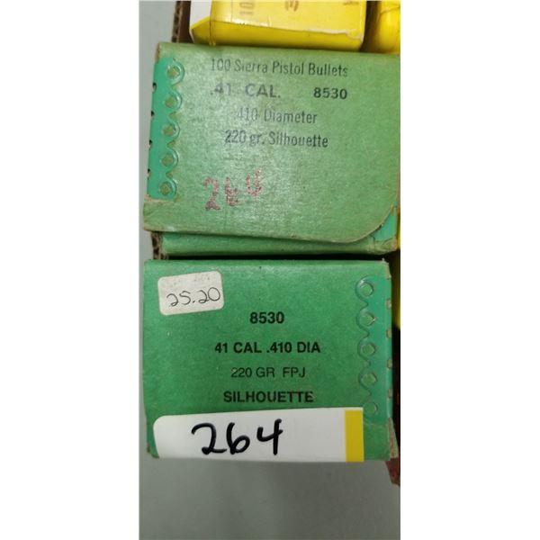 2 BOXES OF 100 SIERRA PISTO BULLETS 41 CAL 220 GRAIN SILOHETTE
