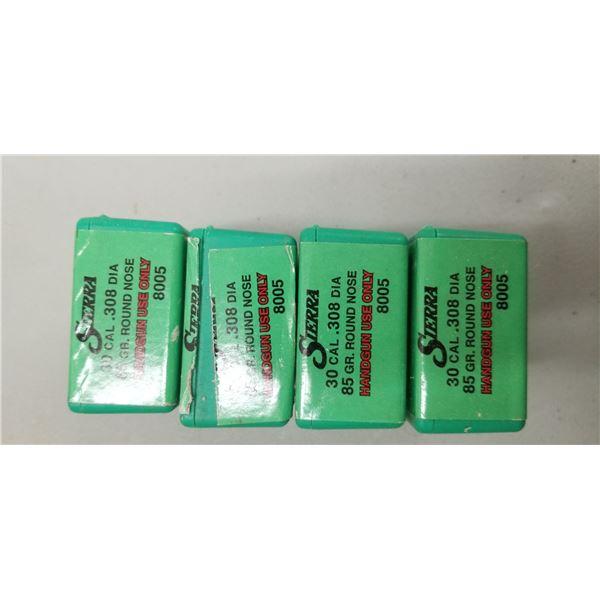 400 (FOUR BOXES) OF SIERRA 30 CAL, 85 GRAIN ROUND NOSE, HANDGUN BULETS