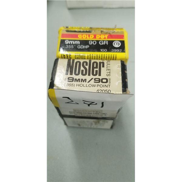 ONE BOX OF 9MM 90 GRAIN NOSLER HP AND ONE BOX OF SPEER 9MM 90 GRAIN GDHP