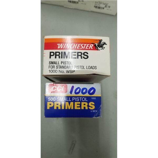 1000 CCI SMALL PISTOL PRIMERS PLUS 300 WINCHESTER SMALL PISTOL PRIMERS