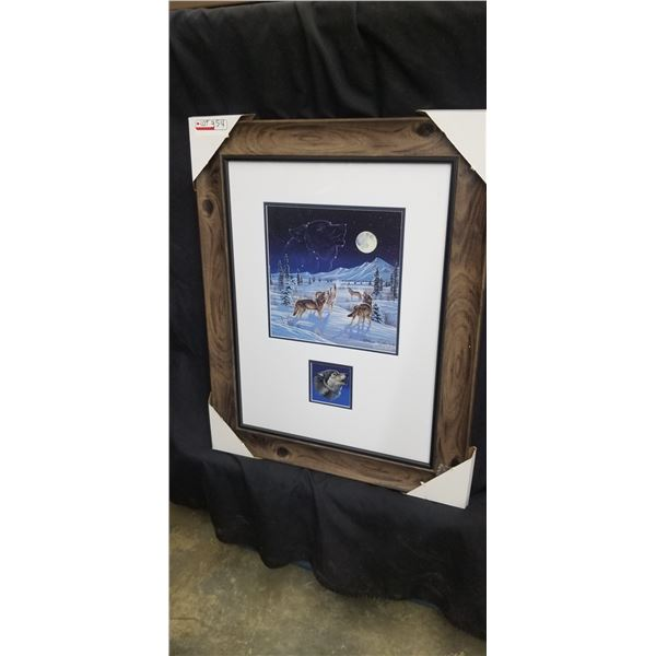 """LIMITED EDITION FRAMED WOLF PACK PRINT 23""""W X 29""""H BY CYNTHIE FISHER 982/5000"""