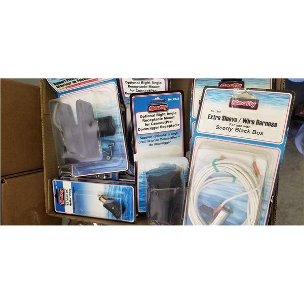 SCOTTY BLACK BOX PARTS INCLUDING #270 SWIVEL FISH FINDER MOUNT X1, #1126 ELECTIC SOCKET X4, #1210 WI