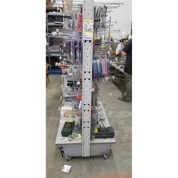 """GONDOLA SHELVING ON WHEEL 48""""L X 33""""W X 75""""H COMES WITH 8 SHELVES 12X48"""" AND 50 PEG BOARD HOOKS"""