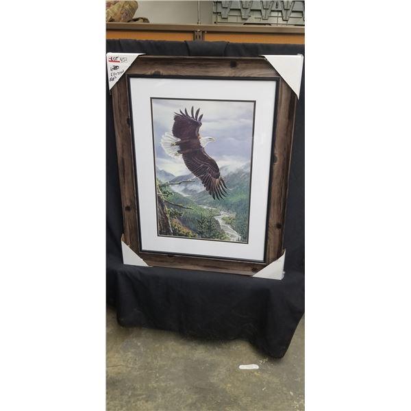 "FRAMED EAGLE PRINT BY AL AGNEW SIGNED ARTIST PROOF 27""W X 34""H"