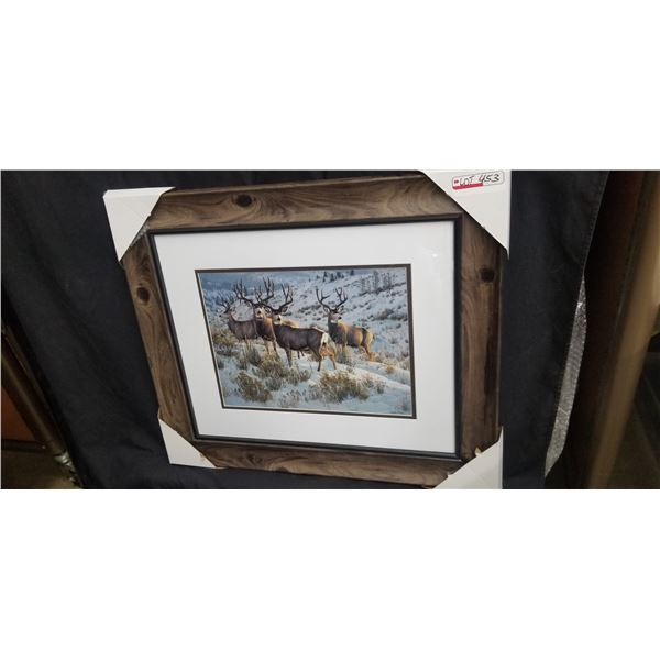 """FRAMED MULE DEER BUCKS PRINT BY CYNTIE FISHER 27""""W X 23""""H SLIGHT FLAW IN THE FRAME SEE PHOTO"""