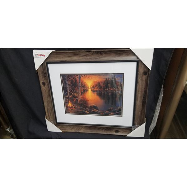 FRAMED CAMPFIRE AND SUNSET PRINT BY DERK