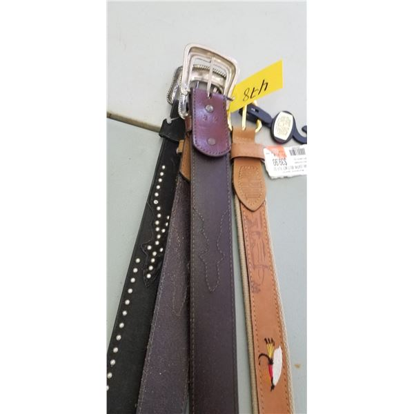 """FOUR 32"""" LEATHER BELTS"""