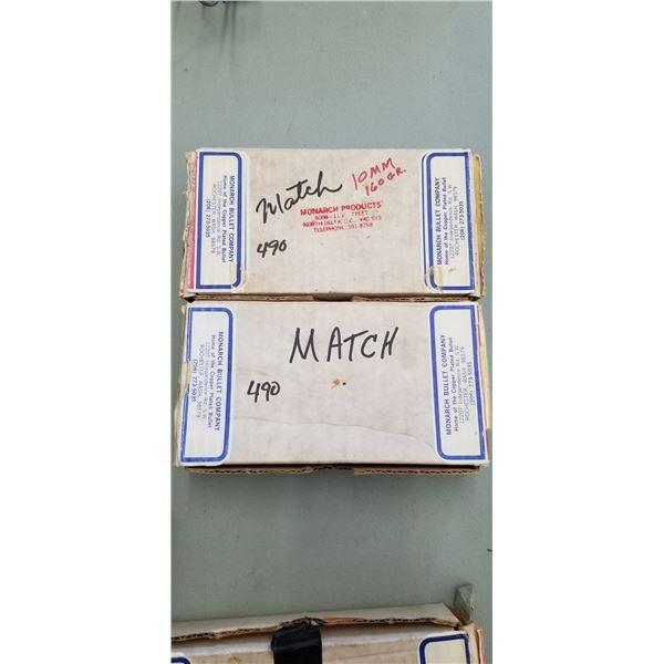 BOX OF 250 MONARCH 185 GRAIN 1MM COPPER LATE BULLES, PLUS PARTIAL BOX OF 160 GRAIN LEAD