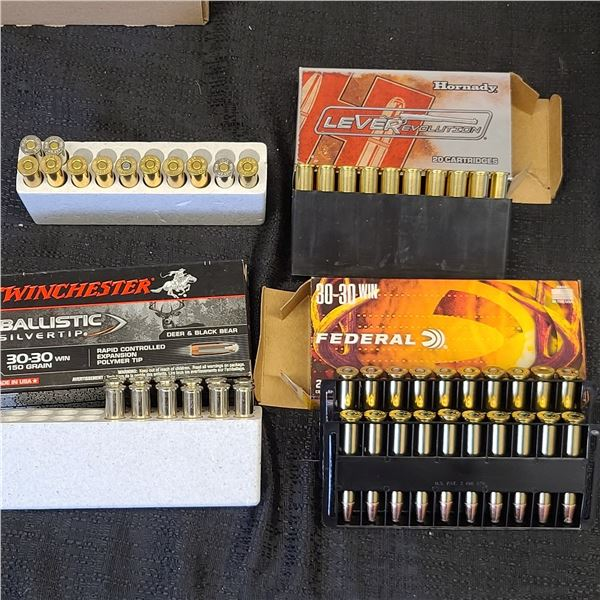 30-30 AMMO TWO FULL BOXES AND TWO PARTIAL BOXES. HORNADY, FEDERAL, AND WINCHESTER