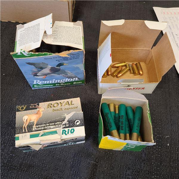 FULL BOX OF ROYAL BUCK ESPECIAL BUCK SHOT, PARTIAL BOX OF .410A (15 SHELLS) PARTIAL BOX OF REMINGTON