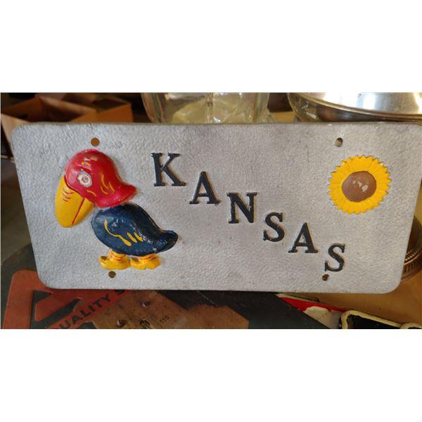 1920's era Kansas Jayhawker Car Tag