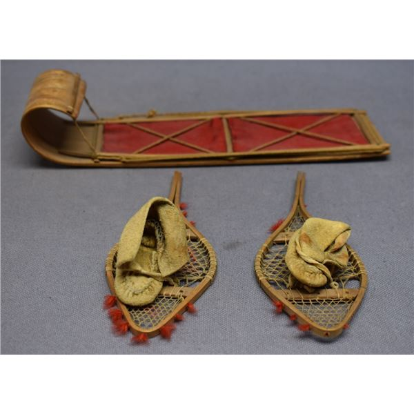CREE INDIAN TOY SNOW SHOES AND SLED