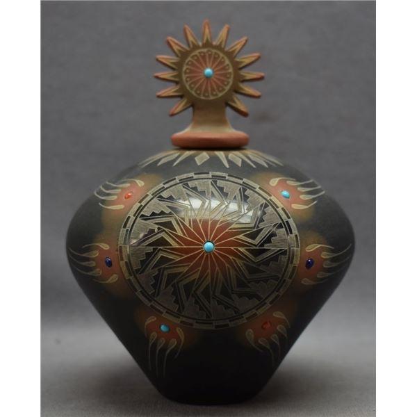 SANTA CLARA INDIAN POTTERY SEED JAR (RON SUAZO)