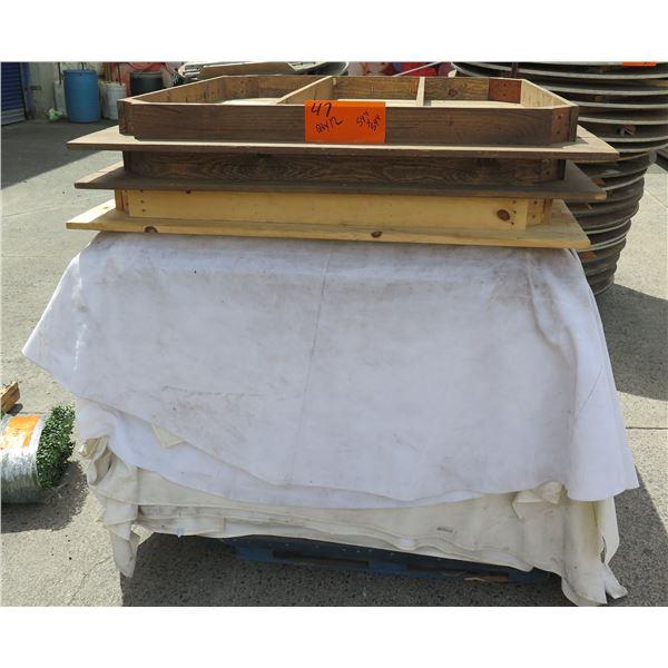 "Qty 12 Wood Square Folding Table Tops 54""x54"""