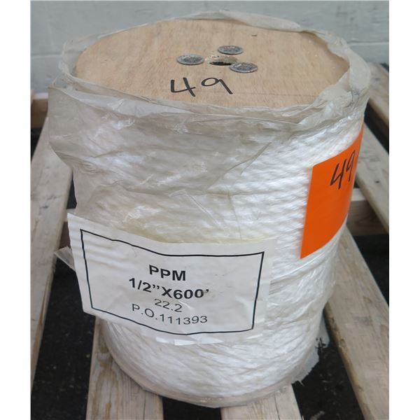 """Spool Pacific Wire Rope Co. PPM 1/2""""x600' 22.2 PO 111393 White Rope"""
