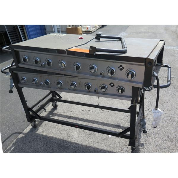 """Qty 2 """"M"""" Commercial 8 Burner Large Propane Gas BBQ Flat Grill on Rolling Stand"""