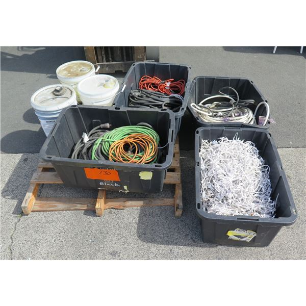 Qty 3 Plastic Bins Cords, Bin White String Lights & 3 Pails Cleaning Supply