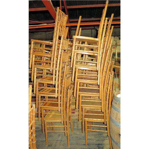 "Qty 28 Natural Colored Chivari Chairs 16"" Diameter x 36""Ht."