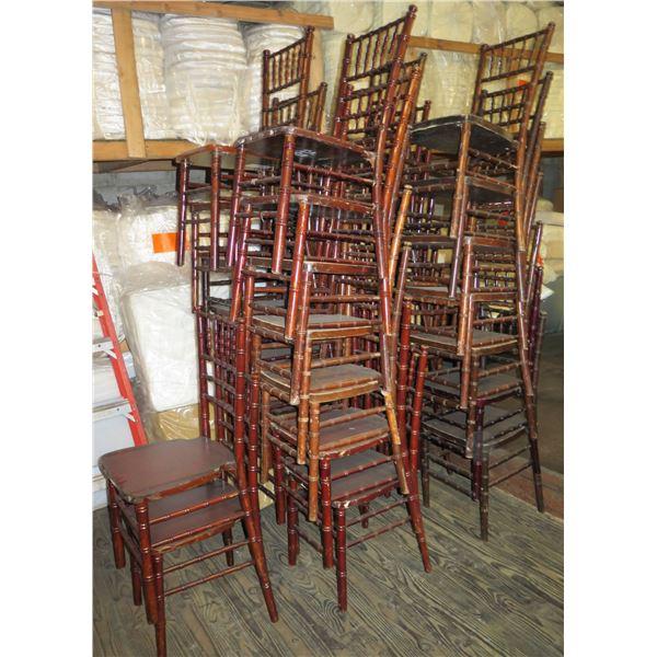 "Qty 30 Mahogany Colored Chivari Chairs 16"" Diameter x 36""Ht."