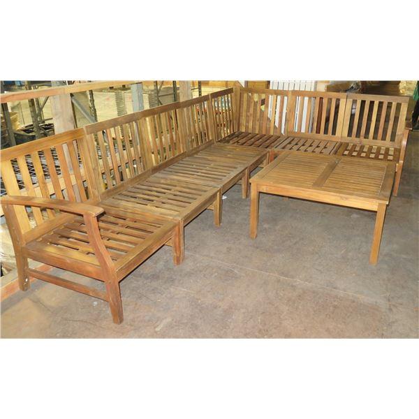 "Wooden Modular 7-Seat Sofa Frame (each piece 26""x24""x34""H) w/ 36"" Dia x 18""H Table"